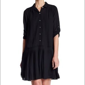 DR2 by Daniel Rainn Collared Pleated Shirt Dress